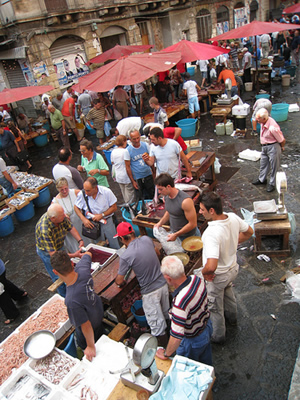 The market in Catania